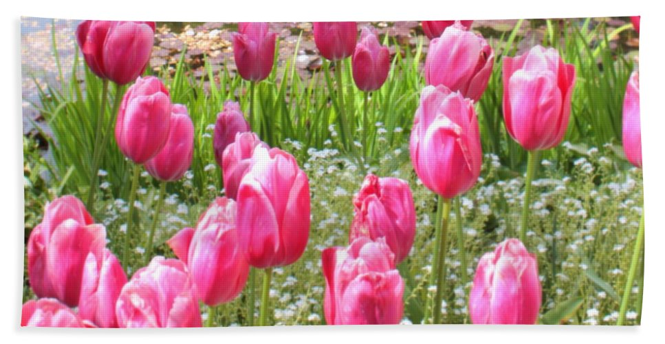 Ponds Bath Sheet featuring the photograph Pink Tulips By Peaceful Pond by Carol Groenen