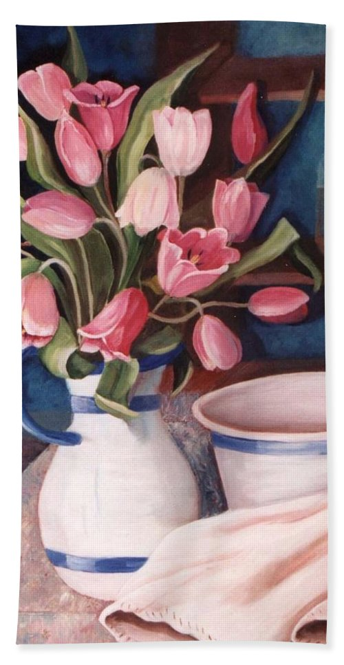 Pink Tulips Bath Sheet featuring the painting Pink Tulips by Renate Nadi Wesley