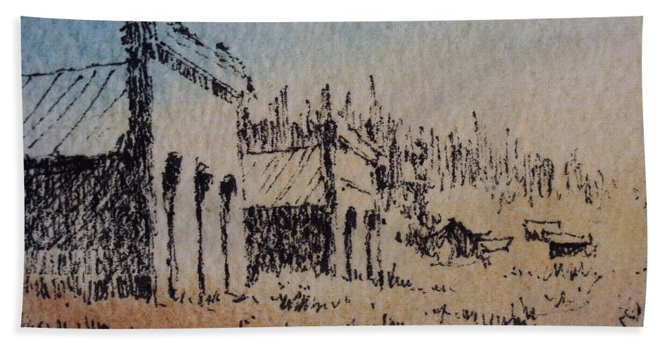 Ghost Town Bath Sheet featuring the drawing Pioneer Ghost Town Montana by Kevin Heaney