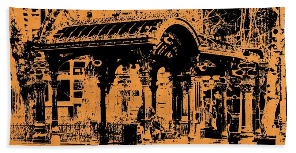 Seattle Hand Towel featuring the digital art Pioneer Square Pergola by Tim Allen
