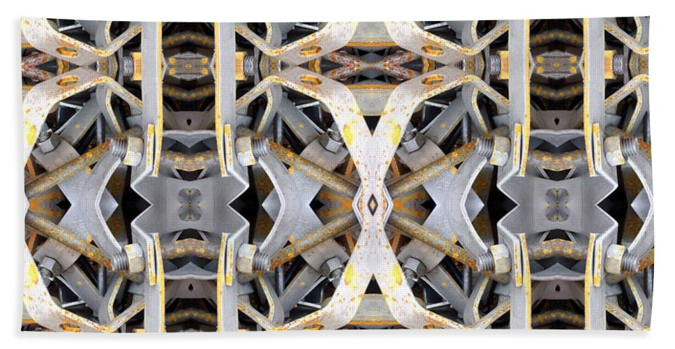 Abstract Bath Sheet featuring the digital art Pipe Hanger by Ron Bissett