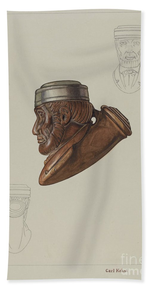 Hand Towel featuring the drawing Pipe Head: Lincoln by Carl Keksi