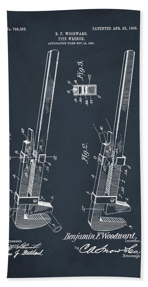 Patent Hand Towel featuring the mixed media Pipe Wrench Patent Drawing 2d by Brian Reaves