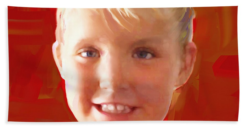 Portrait Hand Towel featuring the painting Piper by Jackie Jacobson