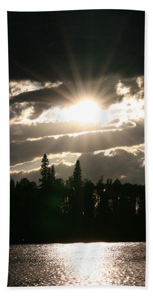 Sunset Water Lake Forest Trees Sun Clouds Hand Towel featuring the photograph Piprell Lake Saskatchewan by Andrea Lawrence