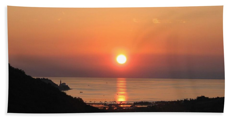 Sunset Sea Bath Sheet featuring the photograph Piran's Sunset I by Dragica Micki Fortuna