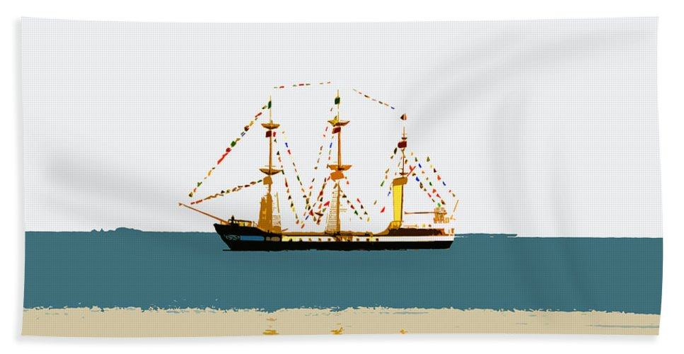 Pirate Ship Hand Towel featuring the painting Pirate Ship On The Horizon by David Lee Thompson