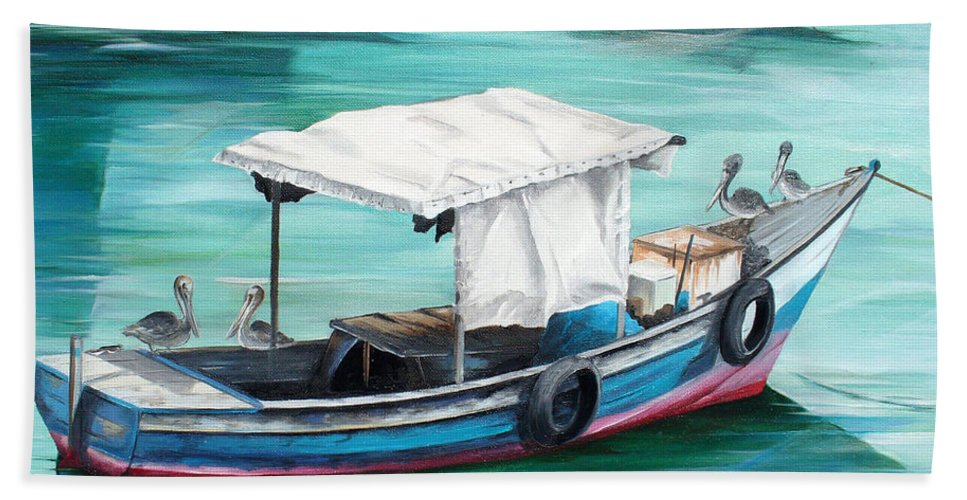 Fishing Boat Painting Seascape Ocean Painting Pelican Painting Boat Painting Caribbean Painting Pirogue Oil Fishing Boat Trinidad And Tobago Hand Towel featuring the painting Pirogue Fishing Boat by Karin Dawn Kelshall- Best