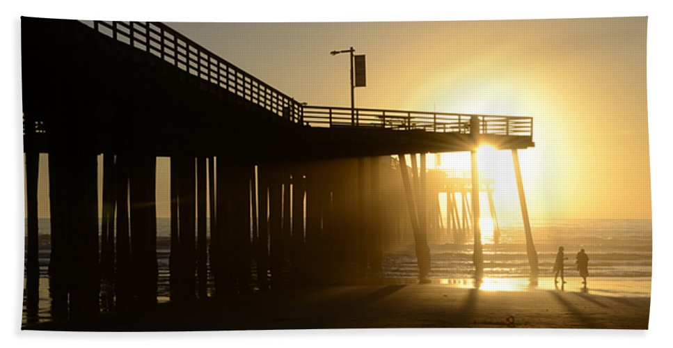 Pismo Bath Sheet featuring the photograph Pismo Beach Pier California 8 by Bob Christopher