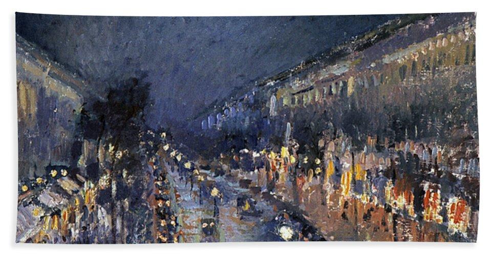1897 Bath Sheet featuring the photograph Pissarro: Paris At Night by Granger