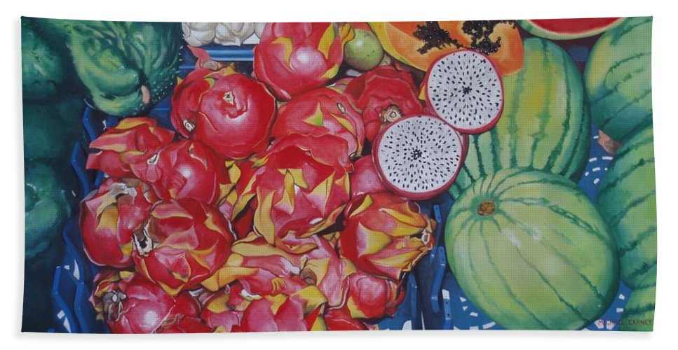 Hyperrealism Bath Sheet featuring the painting Pitahaya by Michael Earney
