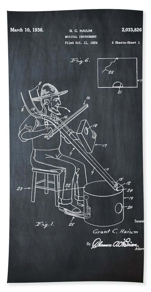 Pitch Hand Towel featuring the photograph Pitch Fork Fiddle And Drum Patent 1936 - Chalk by Bill Cannon