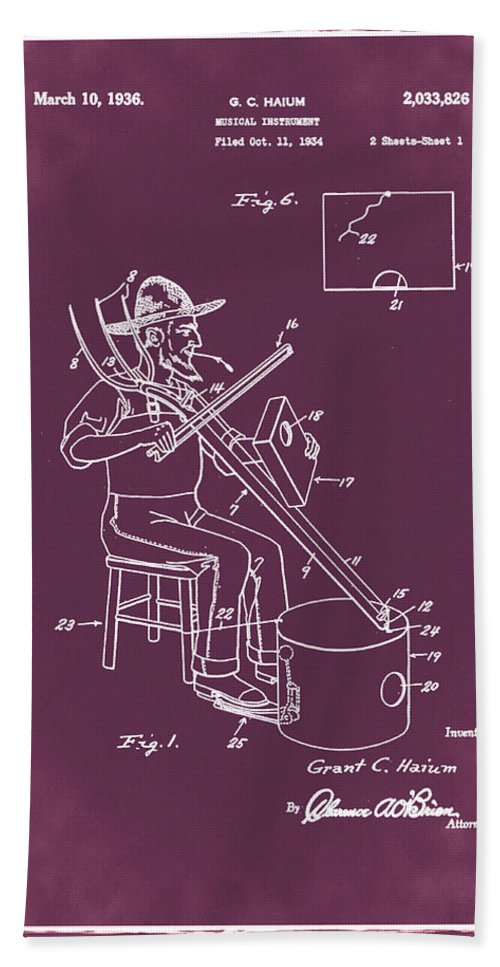 Pitch Hand Towel featuring the photograph Pitch Fork Fiddle And Drum Patent 1936 - Red by Bill Cannon
