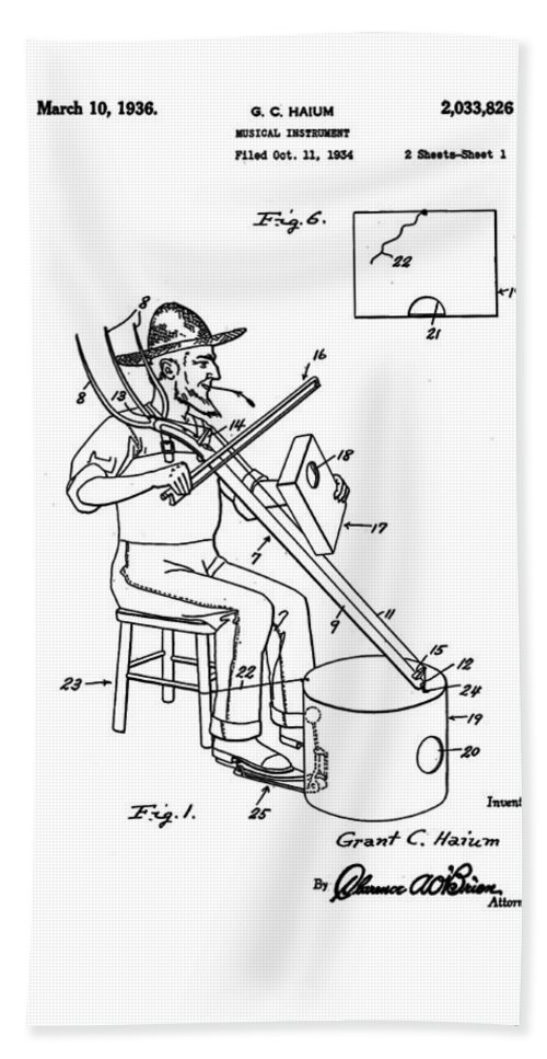 Pitch Hand Towel featuring the photograph Pitch Fork Fiddle And Drum Patent 1936 - White by Bill Cannon