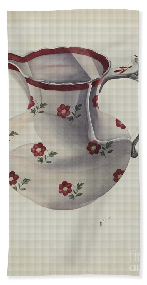 Hand Towel featuring the drawing Pitcher by Edward White