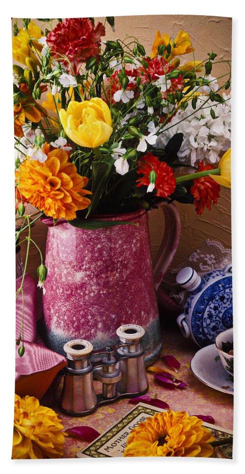 Binoculars Bath Sheet featuring the photograph Pitcher Of Flowers Still Life by Garry Gay