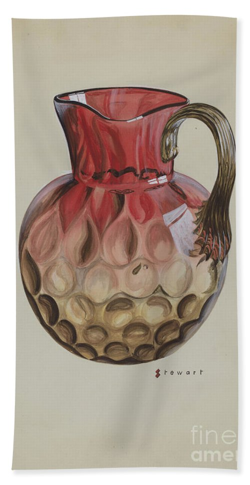 Hand Towel featuring the drawing Pitcher by Robert Stewart