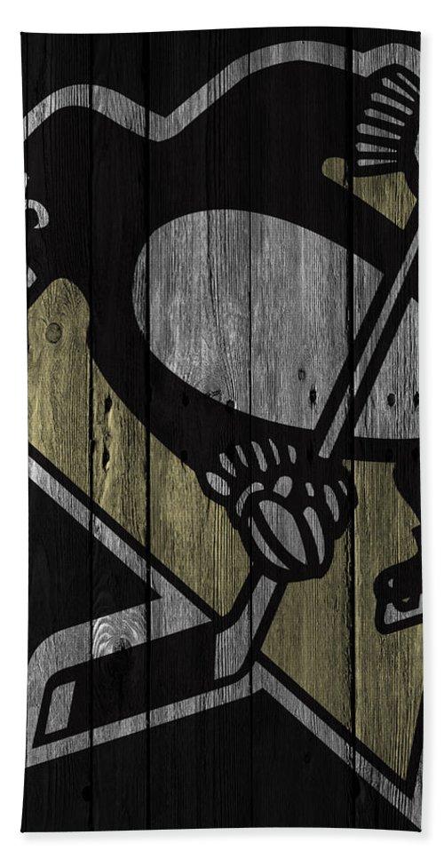 Penguins Hand Towel featuring the digital art Pittsburgh Penguins Wood Fence by Joe Hamilton