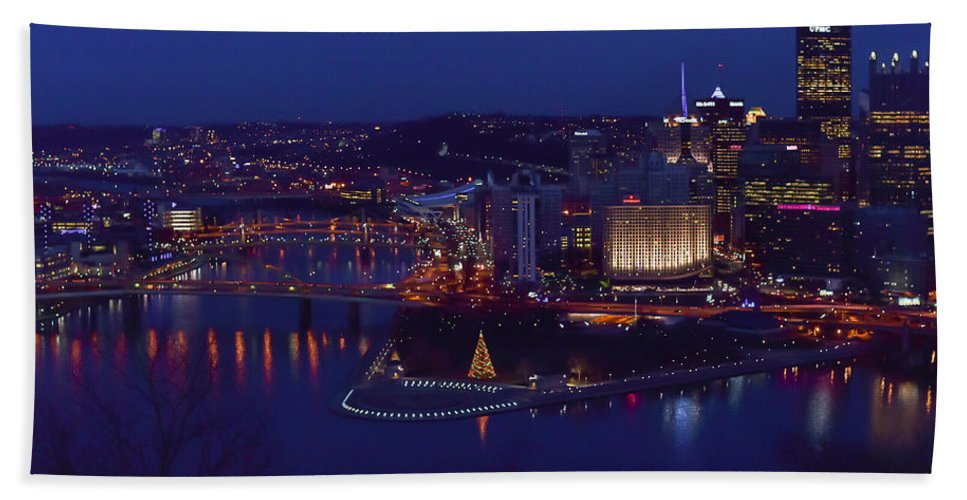 Terry D Photography Hand Towel featuring the photograph Pittsburgh Skyline At Night Christmas Time by Terry DeLuco