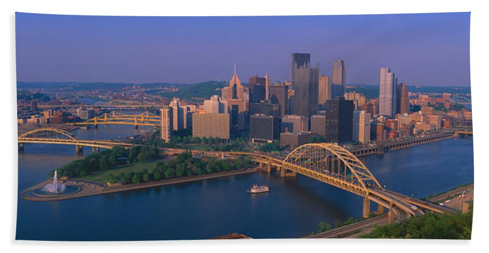 Photography Bath Sheet featuring the photograph Pittsburgh,pennsylvania Skyline by Panoramic Images