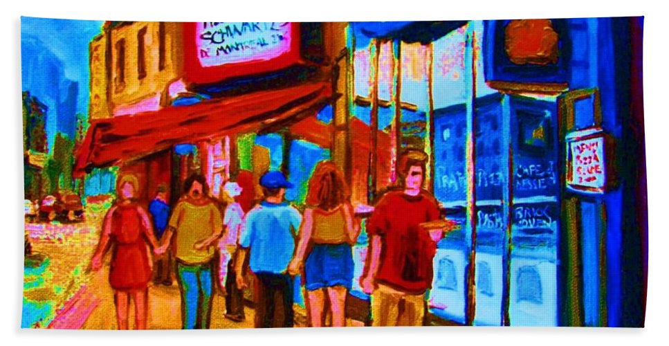 Schwartzs Hebrew Deli Bath Sheet featuring the painting Pizza To Go by Carole Spandau