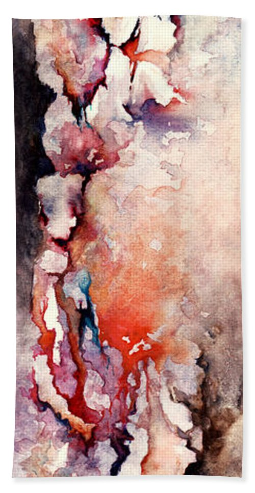 Abstract Bath Towel featuring the painting Places In The Heart by Rachel Christine Nowicki
