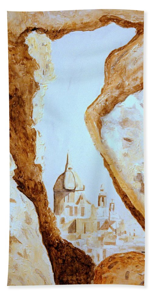 Gozo Bath Sheet featuring the painting Places Of Worship by Shirley Wilberforce