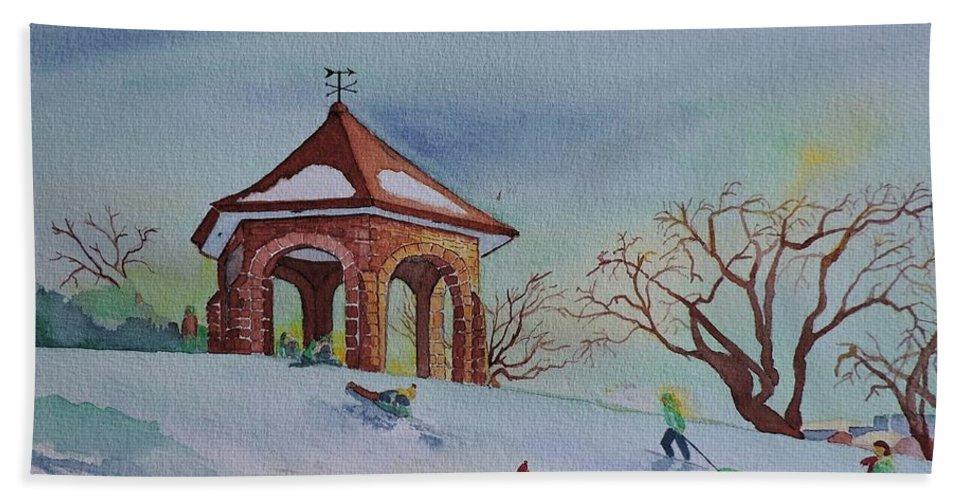 Macdonald Gardens Summerhouse Hand Towel featuring the painting Plaisirs D'hiver Au Parc Macdonald Gardens by Lise PICHE