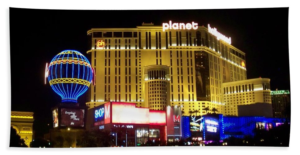 Vegas Bath Towel featuring the photograph Planet Hollywood By Night by Anita Burgermeister