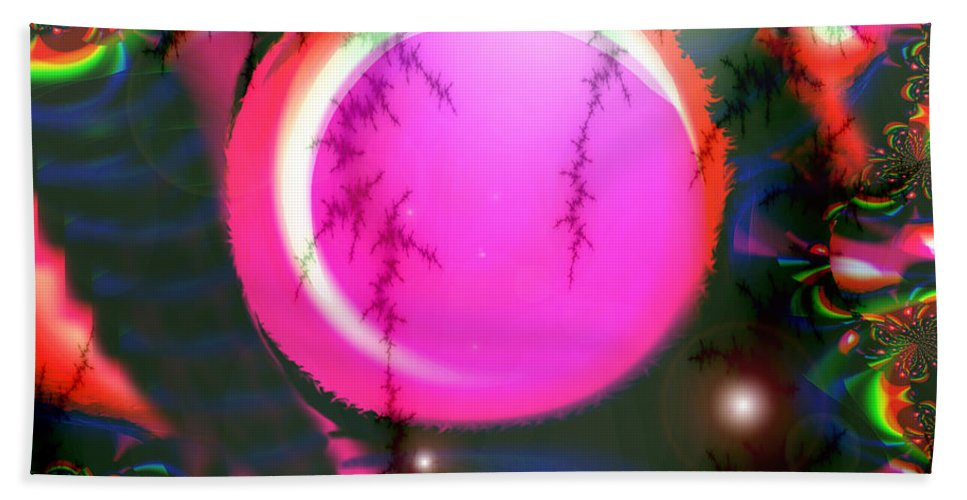 Planets Solar System Rainbow Stars Space Abstract Moon Orb Pink Colorful Bath Sheet featuring the digital art Planet Rainbow by Andrea Lawrence