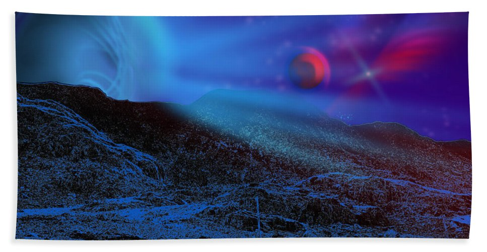 Background Hand Towel featuring the digital art Planet X by Svetlana Sewell