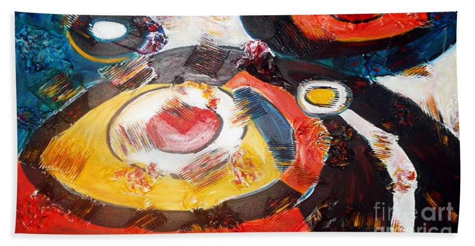 Acrylic Abstract Hand Towel featuring the painting Planets Exploration by Yael VanGruber