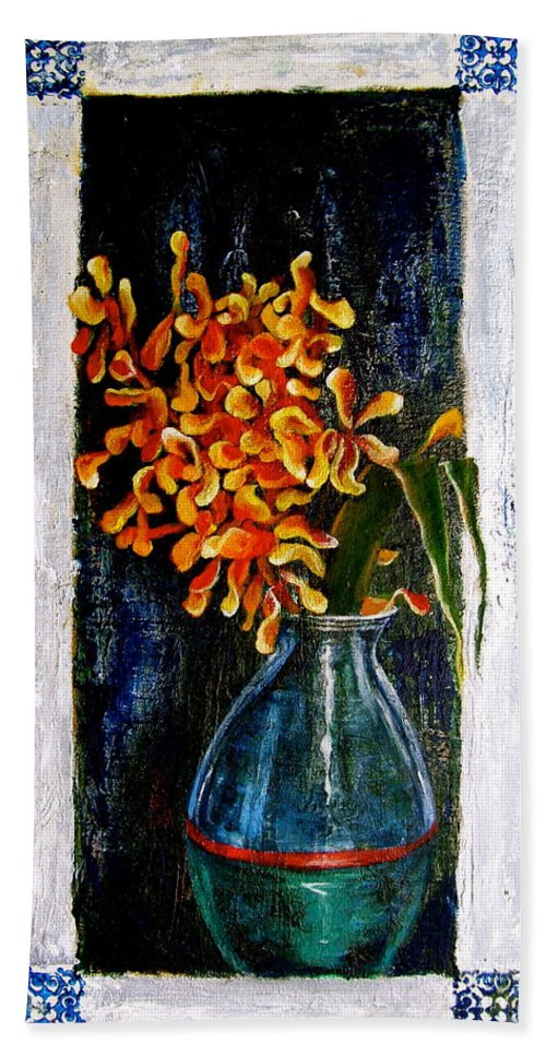 Beautiful Art Hand Towel featuring the painting Plant by Laura Pierre-Louis