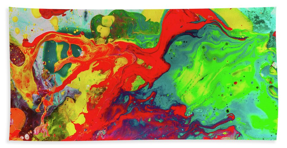 playful spring colorful happy abstract art painting hand towel for