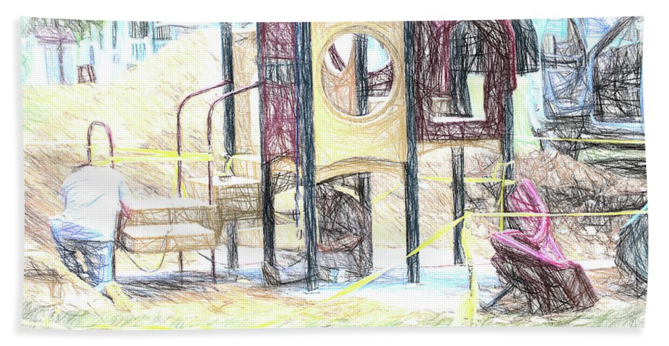 Color Sketch Hand Towel featuring the photograph Playground Equipment Sketch by Melvin Busch