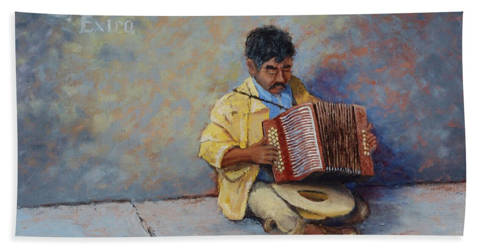 Mexico Hand Towel featuring the painting Playing For Pesos by Jerry McElroy