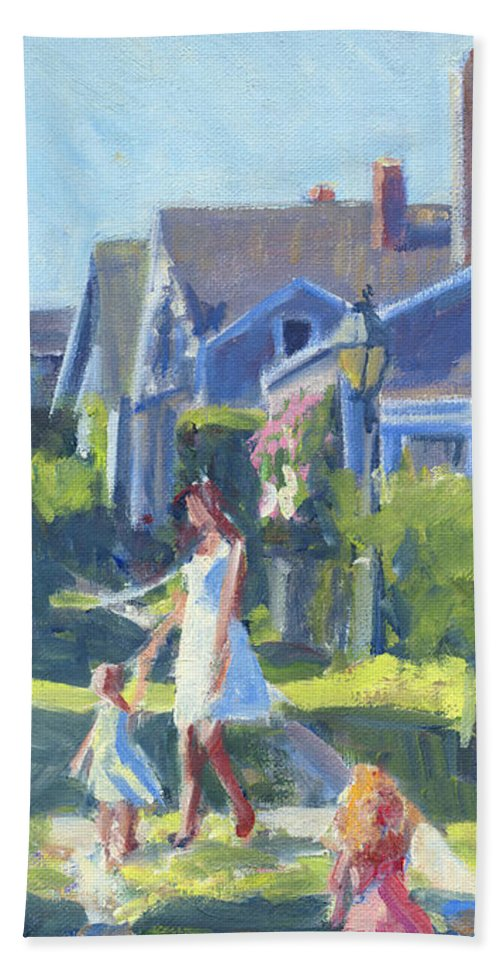 Playing On Front Street Hand Towel featuring the painting Playing On Front Street by Candace Lovely