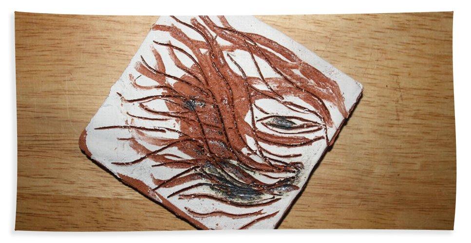 Jesus Hand Towel featuring the ceramic art Plea -tile by Gloria Ssali
