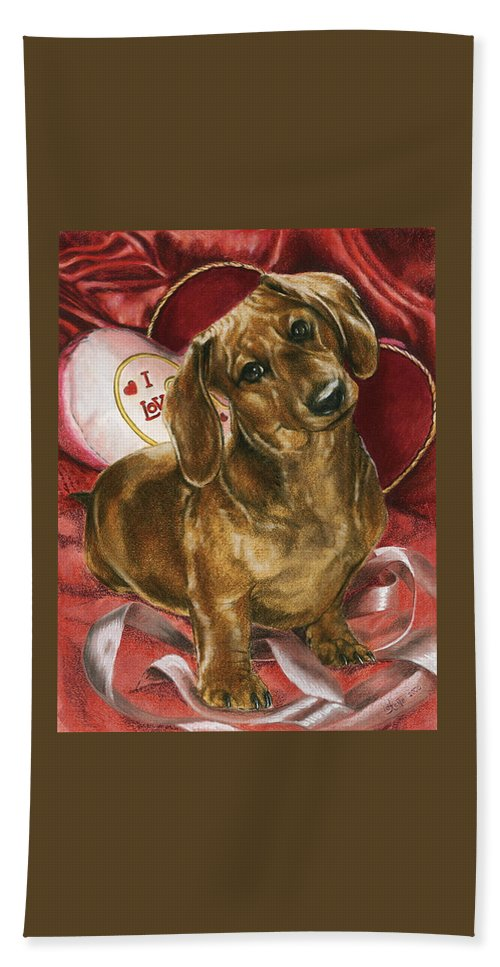 Dogs Bath Towel featuring the mixed media Please Be Mine by Barbara Keith