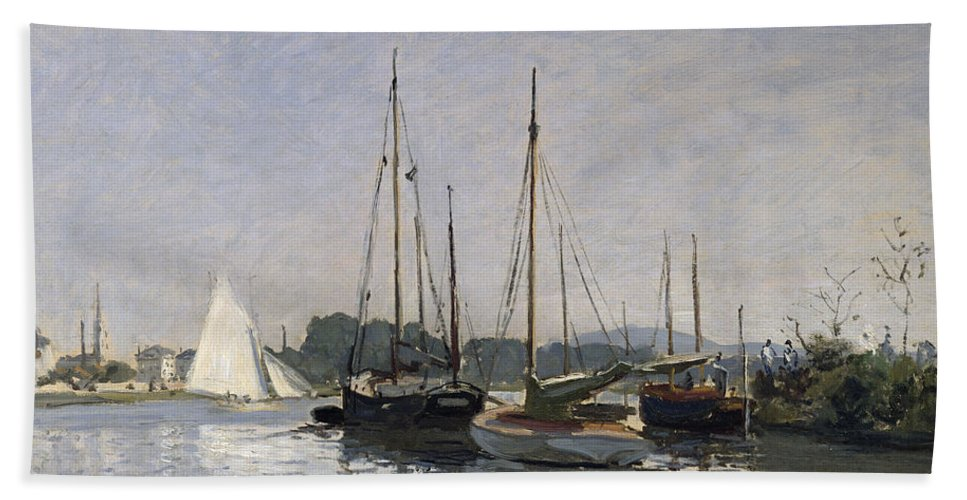 Pleasure Boats Hand Towel featuring the painting Pleasure Boats Argenteuil by Claude Monet