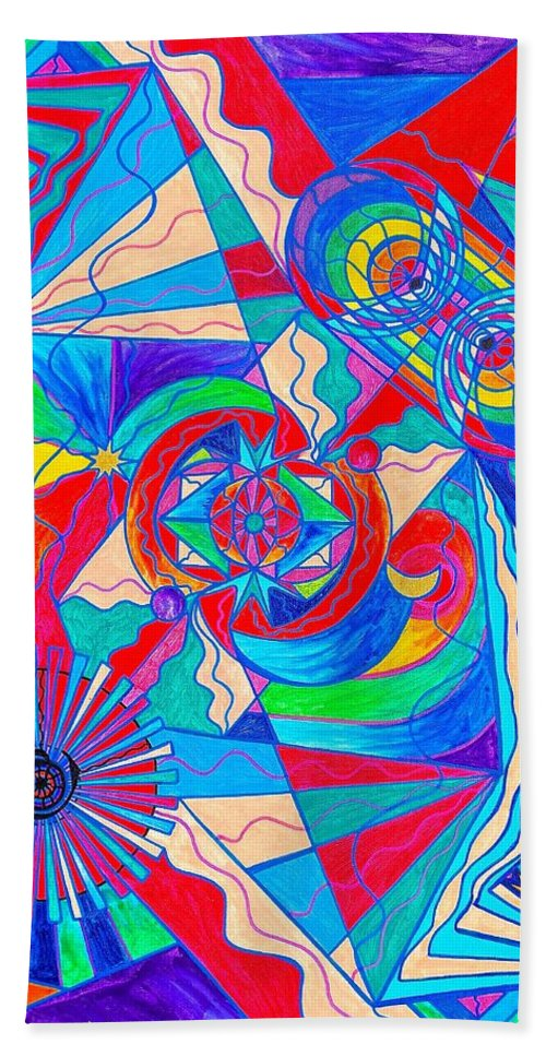 Vibration Bath Towel featuring the painting Pleiadian Restore Harmony Light Work Model by Teal Eye Print Store