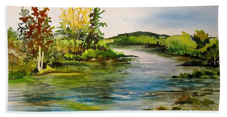Grand Beach Manitoba Lagoon Hand Towel featuring the painting Plein Air At Grand Beach Lagoon by Joanne Smoley