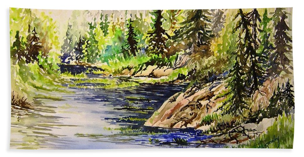 Nutimik Lake Manitoba Landscape Hand Towel featuring the painting Plein Air At Nutimik Lake In Manitoba by Joanne Smoley