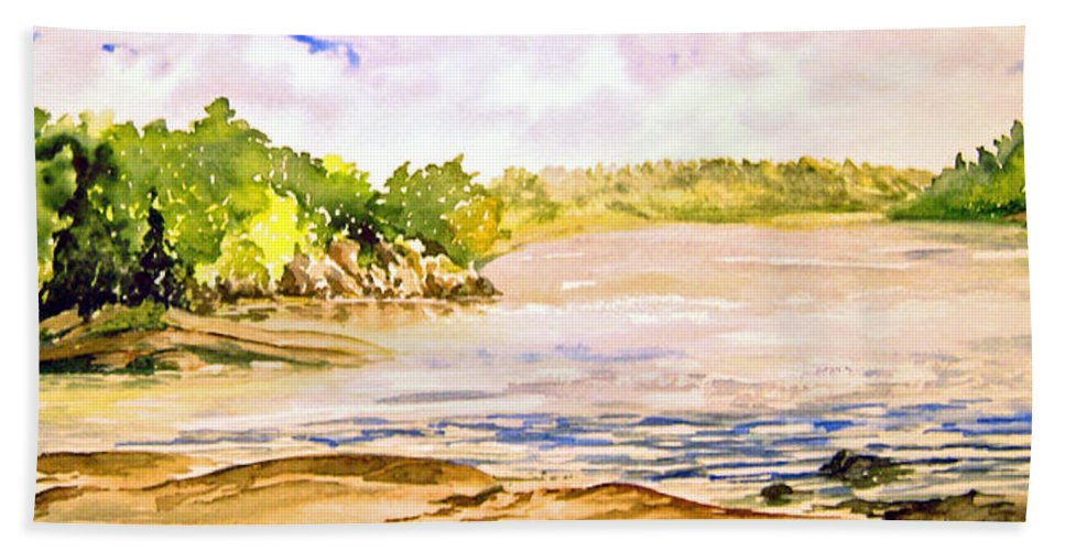 Pine Falls Manitoba Bath Towel featuring the painting Plein Air At Pine Falls Manitoba by Joanne Smoley