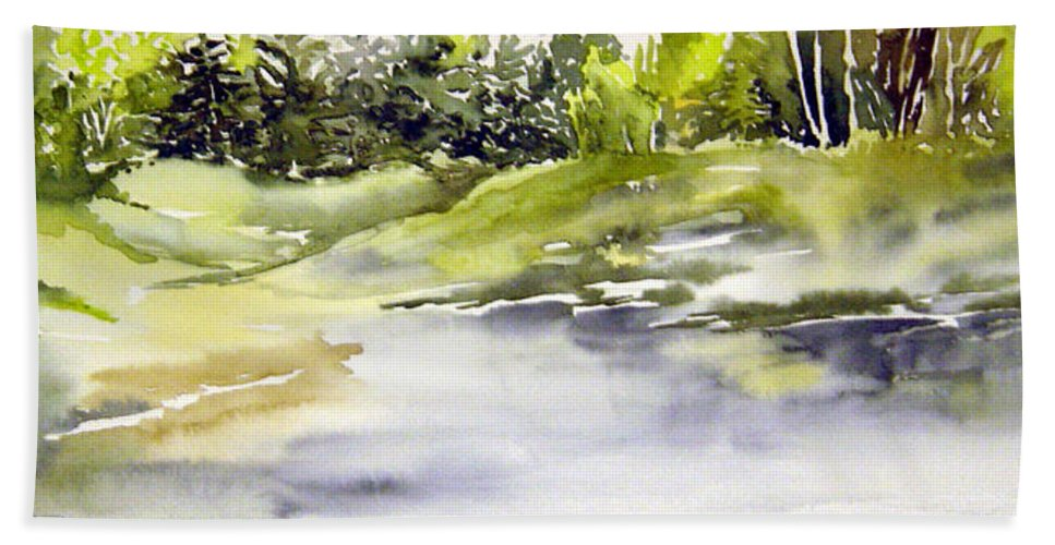 Nutimik Lake Whiteshell Manitoba Bath Sheet featuring the painting Plein Air At The Pond At Nutimik by Joanne Smoley