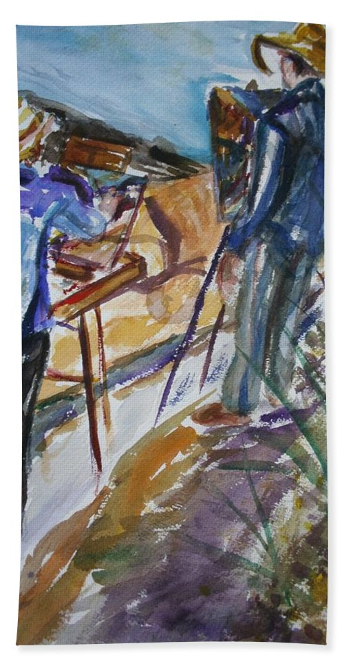 Impressionist Hand Towel featuring the painting Plein Air Painters - Original Watercolor by Quin Sweetman