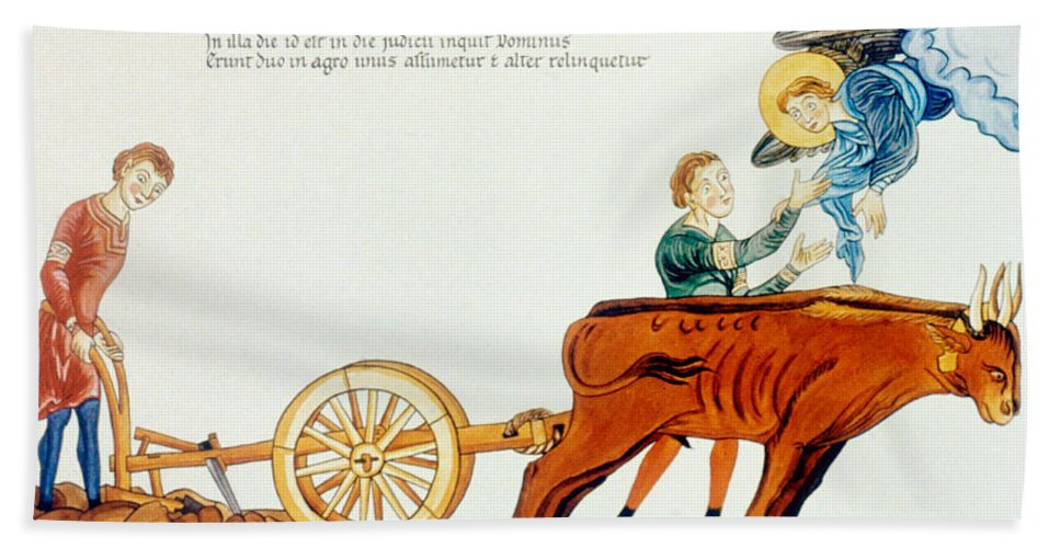 12th Century Bath Sheet featuring the photograph Ploughing, 12th Century by Granger
