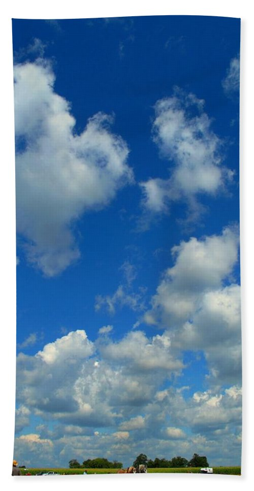 Clouds Bath Towel featuring the photograph Ploughing Under A Mid Day Sun by Ian MacDonald