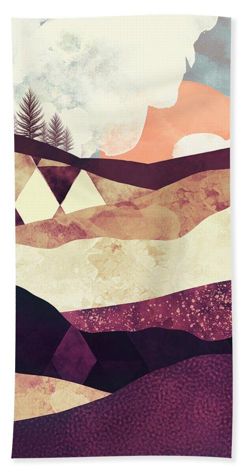 Field Bath Sheet featuring the digital art Plum Fields by Spacefrog Designs