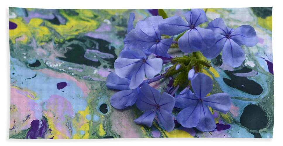 Plumbago Flowers Hand Towel featuring the photograph Plumbago Flowers by Olga Hamilton